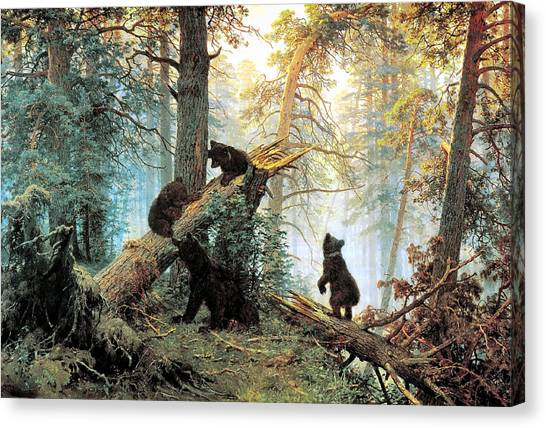 Black Bears Canvas Print - Morning In A Pine Forest by Ivan Shishkin