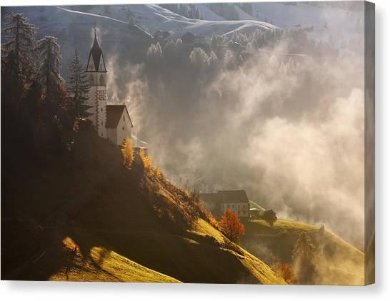 Dolomites Canvas Print - Morning In Alpine Valley by Daniel ?e?icha