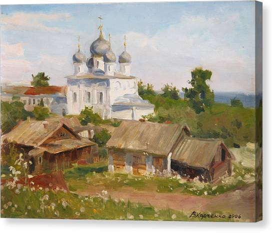 Temple Canvas Print - Morning In Belozersk by Victoria Kharchenko