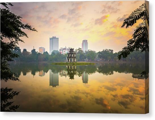 Morning In Hoan Kiem Lake Of Hanoi Canvas Print by Spc#jayjay
