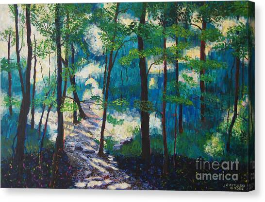 Warner Park Canvas Print - Morning Sunshine In Park Forest by Arthur Witulski