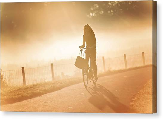 Morning Journey In The Glowing Mist Canvas Print by Jenny Rainbow