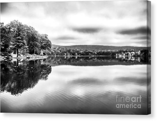 Red School House Canvas Print - Morning Lake View by John Rizzuto