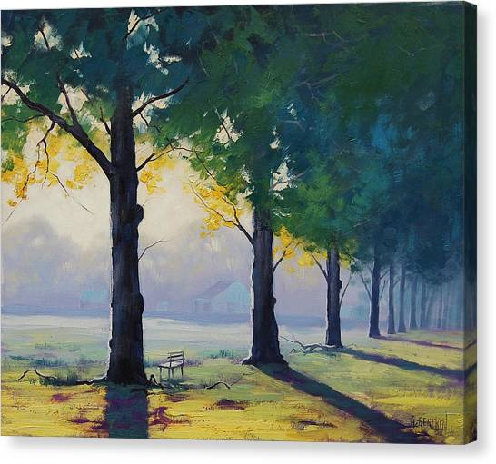 Park Benches Canvas Print - Morning Light by Graham Gercken