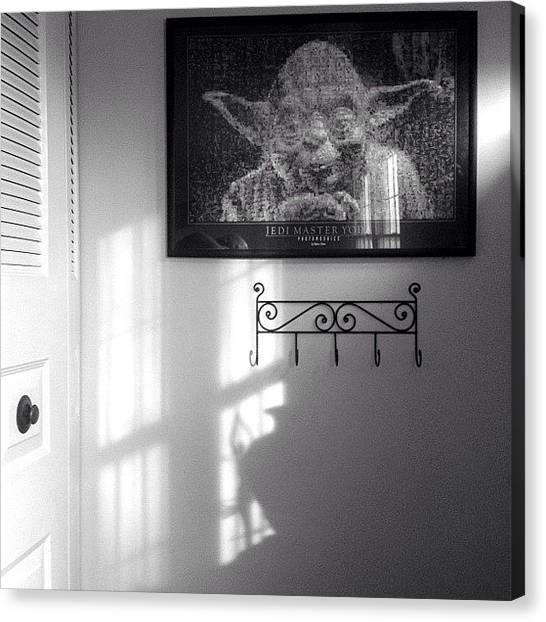 Yoda Canvas Print - #morning #light #shadow #blackandwhite by Daniel  Ware