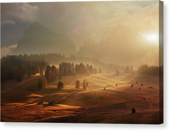 Alps Canvas Print - Morning On Alpine Meadow by Daniel ?e?icha