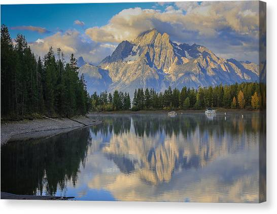 Morning On Colter Bay Canvas Print by Michael Schwartz