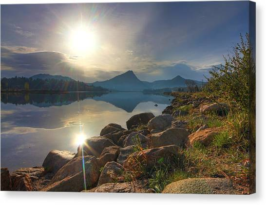 Morning On Lake Estes Canvas Print by Perspective Imagery