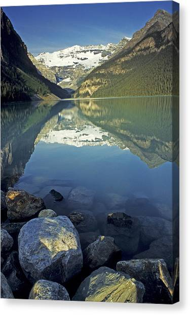 Canada Glacier Canvas Print - Morning On Lake Louise by Doug Davidson
