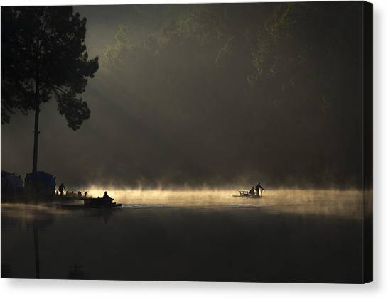 Countryside Canvas Print - Morning On The Lake by Tippawan Kongto