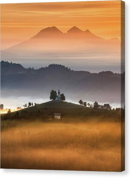 Church Canvas Print - Morning Rays by Ales Krivec