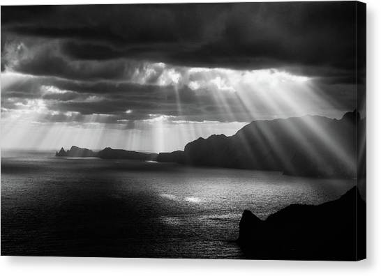 Ocean Cliffs Canvas Print - Morning Rays by Artfiction (andre Gehrmann)