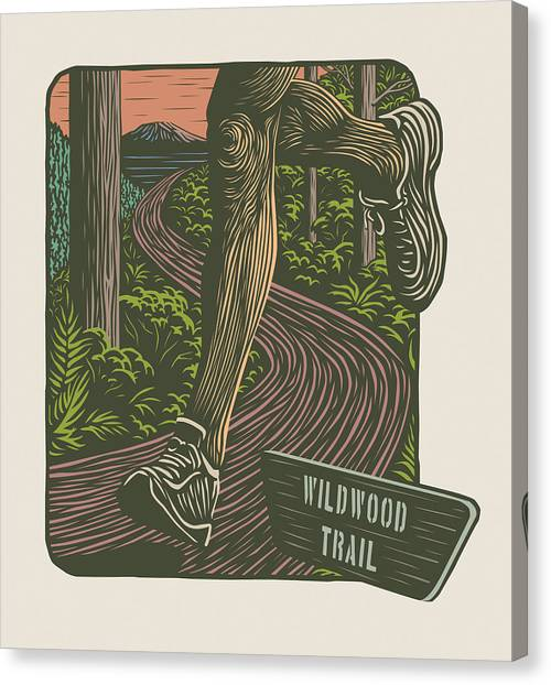 Helen Canvas Print - Morning Run On The Wildwood Trail by Mitch Frey