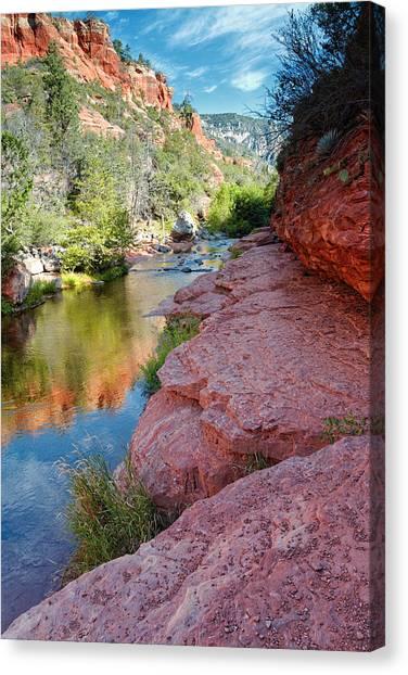 Morning Sun On Oak Creek - Slide Rock State Park Sedona Arizona Canvas Print