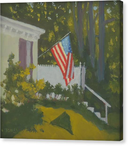 Morning Sun On Old Glory Canvas Print