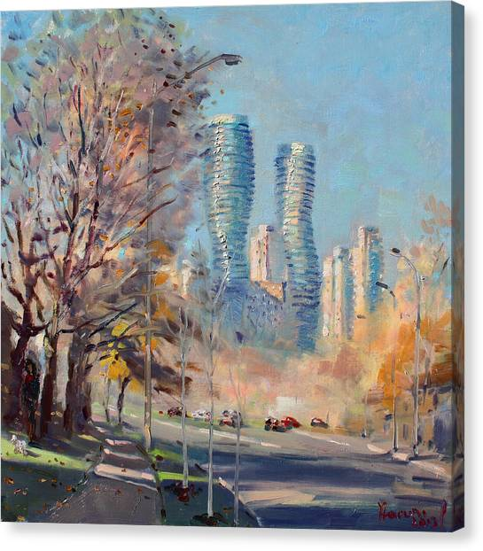 City Sunrises Canvas Print - Morning Sunlight In Mississauga by Ylli Haruni