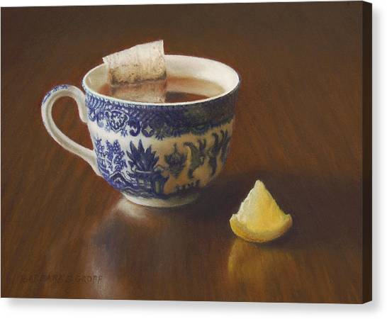 Tea Canvas Print - Morning Tea With Lemon by Barbara Groff