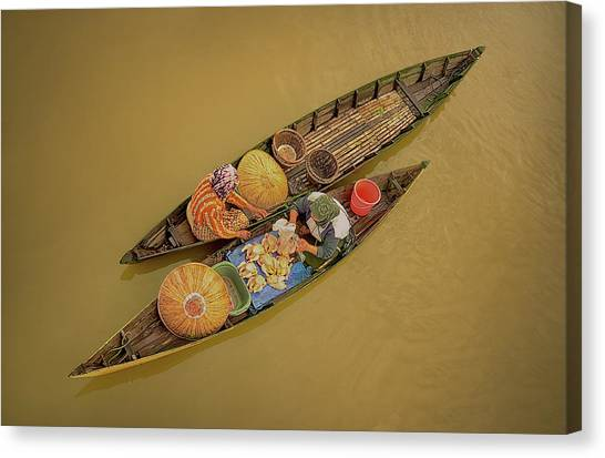 Canoes Canvas Print - Morning Transaction by