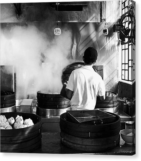 Georgetown University Canvas Print - Morning Walk. Steaming Bao In A George by David  Hagerman