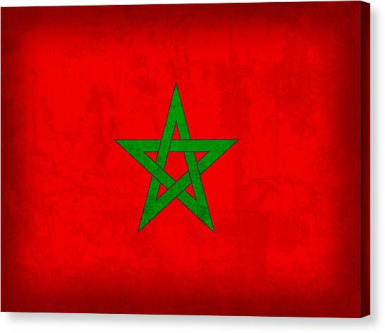 Moroccon Canvas Print - Morocco Flag Vintage Distressed Finish by Design Turnpike