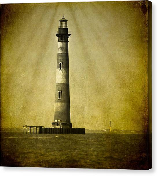 Morris Island Light Bw Vintage Canvas Print