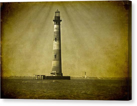 Morris Island Light Vintage Bw Uncropped Canvas Print