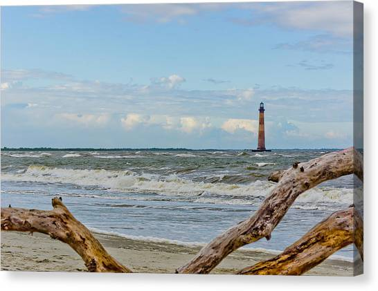 Morris Island Light With Driftwood Canvas Print
