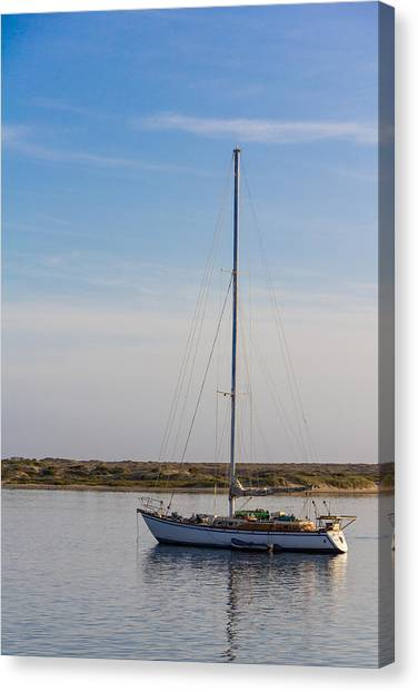 Sailboat At Anchor In Morro Bay Canvas Print