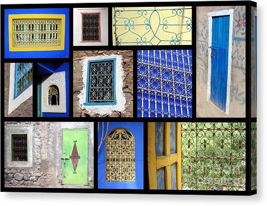 Moroccan Canvas Print - Moroccan Windows by Delphimages Photo Creations