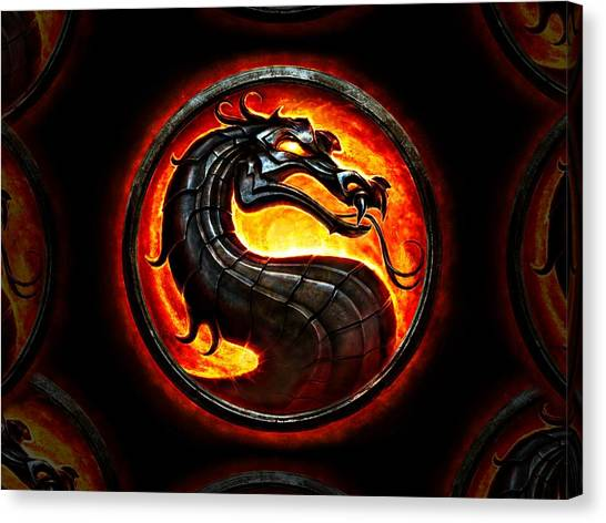 Mortal Kombat Canvas Print - Mortal Kombat Dragon by Movie Poster Prints