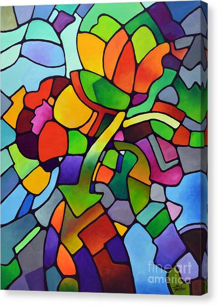 Mosaic Bouquet Canvas Print