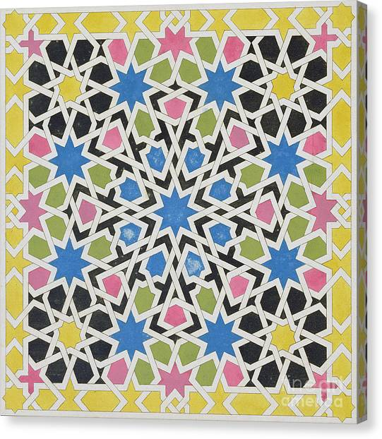Alhambra Canvas Print - Mosaic Design From The Alhambra by James Cavanagh Murphy