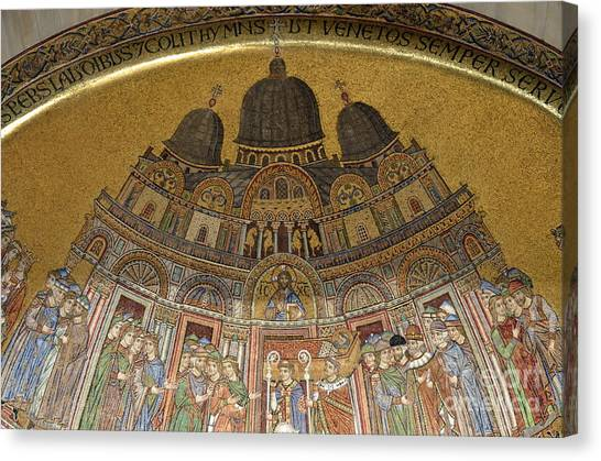 Mosaic Detail On San Marco Basilica Canvas Print by Sami Sarkis