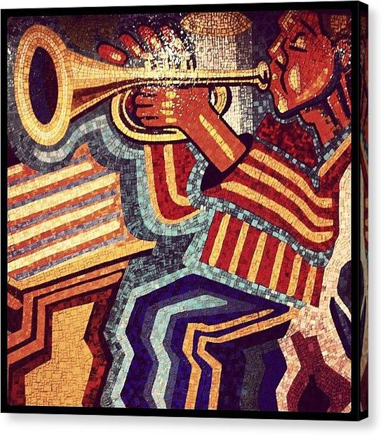 Trumpets Canvas Print - Mosaic Mural In Newark Penn Station by Arnab Mukherjee