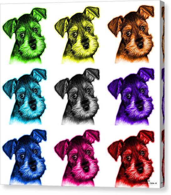 Mosaic Salt And Pepper Schnauzer Puppy 7206 F - Wb Canvas Print