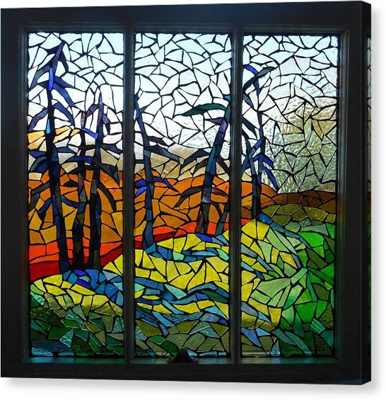 Open Window At Dusk: Dusk Glass Art By Catherine Van Der
