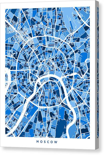 Moscow Canvas Print - Moscow City Street Map by Michael Tompsett