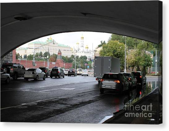 Moscow Skyline Canvas Print - Moscow Kremlin Seen Through The Archway Of Greater Stone Bridge In Moscow I by Anna Yurasovsky