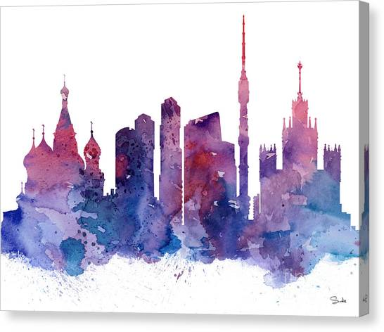 Moscow Canvas Print - Moscow by Watercolor Girl