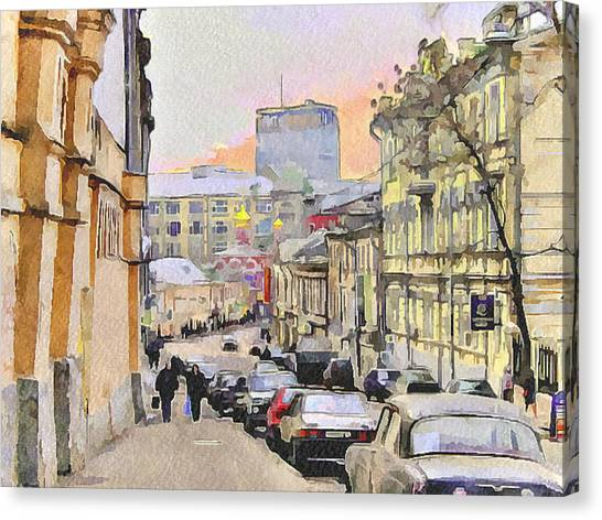 Moscow Old Streets 3 Canvas Print by Yury Malkov