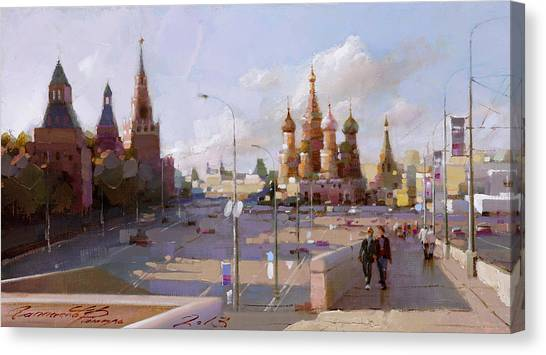 Moscow Skyline Canvas Print - Moscow. Vasilevsky Descent. Views Of Red Square. by Ramil Gappasov