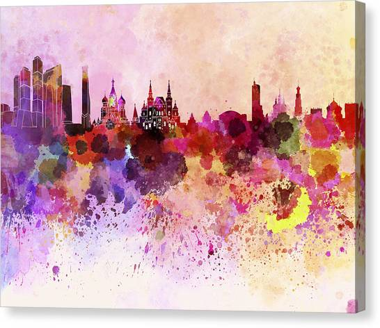 Moscow Skyline Canvas Print - Moscow Skyline In Watercolor Background by Pablo Romero