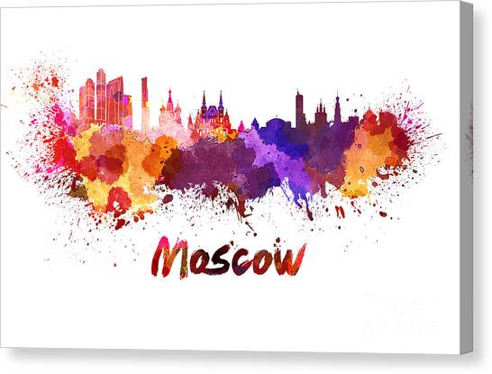 Moscow Skyline Canvas Print - Moscow Skyline In Watercolor by Pablo Romero