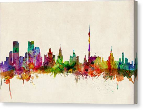 Moscow Skyline Canvas Print - Moscow Skyline by Michael Tompsett