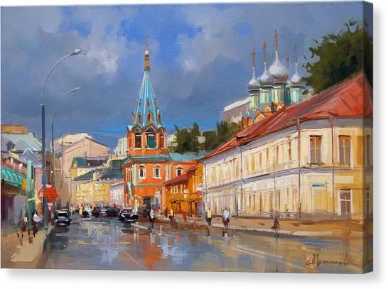 City Landscape Canvas Print - Moscow.bolshaya Polyanka Street by Alexey Shalaev