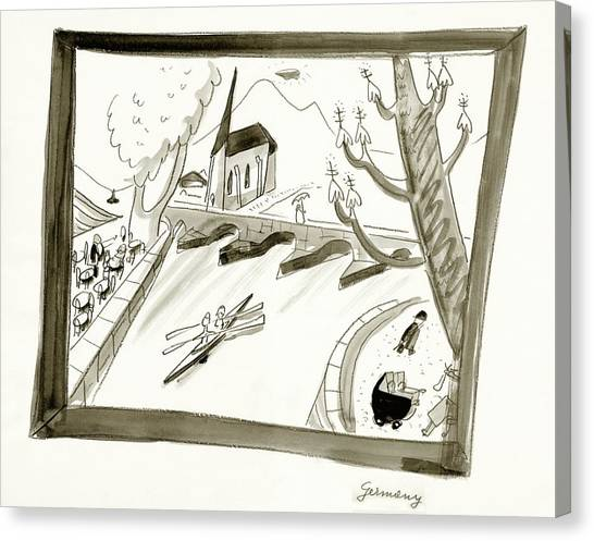 Mosel River In Germany Canvas Print by Ludwig Bemelmans
