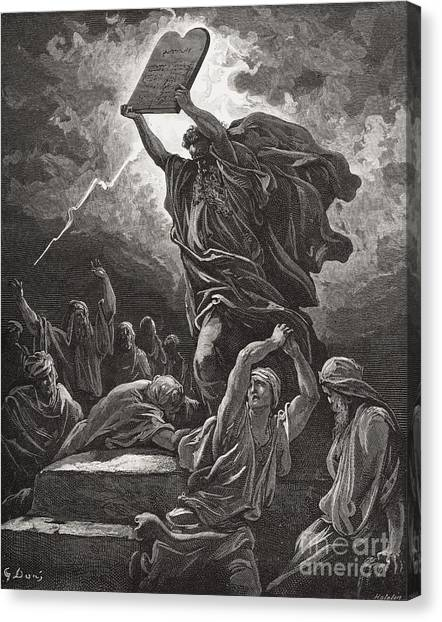 Holy Bible Canvas Print - Moses Breaking The Tablets Of The Law by Gustave Dore