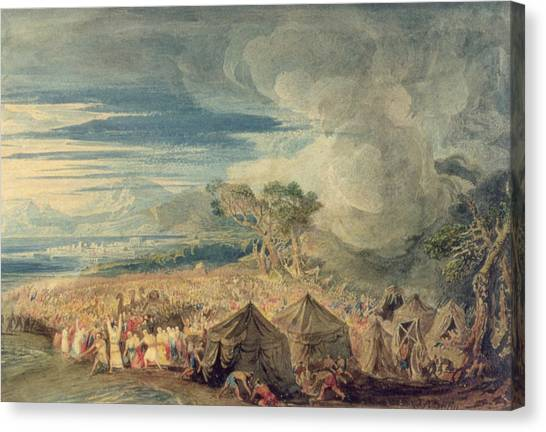 Old Testament Canvas Print - Moses Dividing The Waters Of The Red Sea by John Martin