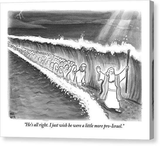 Israeli Canvas Print - Moses Parting The Sea by Paul Noth