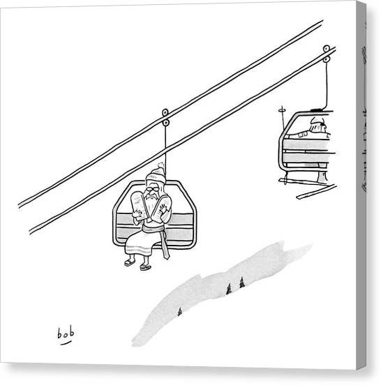 Ski Canvas Print - Moses Travels Down A Mountain On A Ski-lift by Bob Eckstein